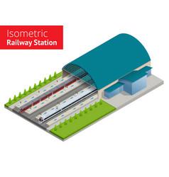 Isometric infographic element railway vector