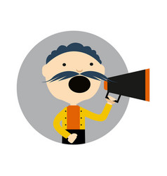 Man with megaphone round avatar icon vector
