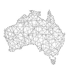 Map of australia from polygonal black lines vector