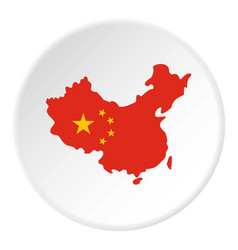 Map of china in national flag colors icon circle vector