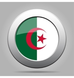 metal button with flag of Algeria vector image vector image
