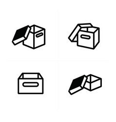 Parcel box open box icons vector