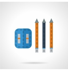 Pencils and sharpener flat icon vector image