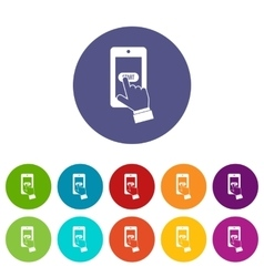 Playing games on smartphone set icons vector image