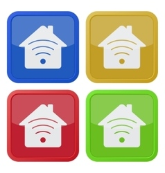 set of four square icons - house with signal vector image