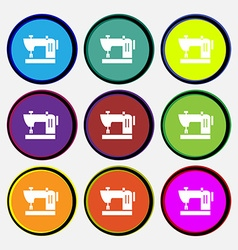 Sewing machine icon sign nine multi colored round vector