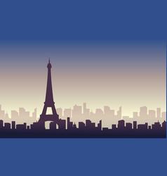 silhouette of paris skyline scenery vector image