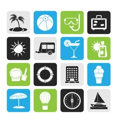 Silhouette vacation and holiday icons vector