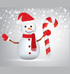 snowman holding a christmas candy vector image vector image