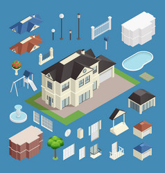 suburb house isometric set vector image vector image