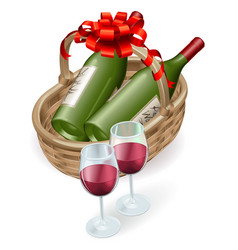 wicker wine basket vector image