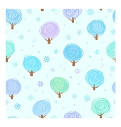 Winter trees and snowflakes seamle vector image vector image