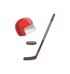 Hockey stick puck and helmet as a national vector