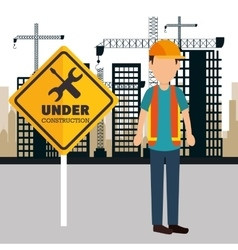 Worker construction avatar icon vector