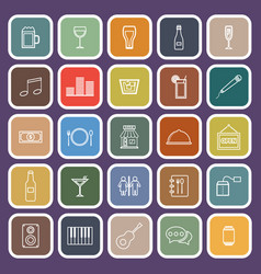Bar line flat icons on purple background vector