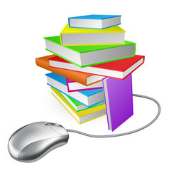 book stack computer mouse vector image