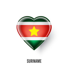 Patriotic heart symbol with suriname flag vector