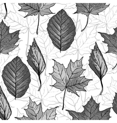 Black and white seamless background with leaves vector image