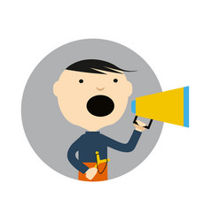 young boy with slingshot and megaphone icon vector image