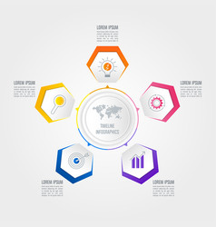 Infographic design business concept with 5 options vector