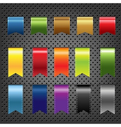 Abstract metal background with ribbons set vector