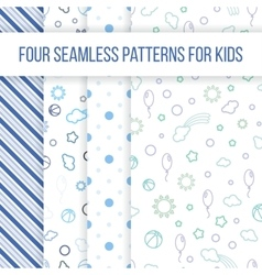 Set of seamless patterns for little boy vector