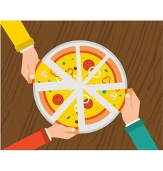 People having dinner together and sharing a huge vector