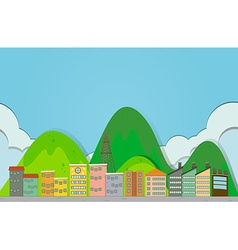 Buildings along the road vector