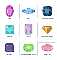 Jewelry gems cuts infographics vector