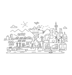Hand line drawing futuristic eco city vector image