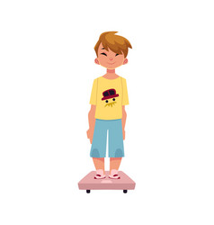 boy kid child standing still on weight scale vector image