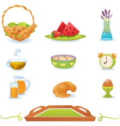 Breakfast green icons set vector image
