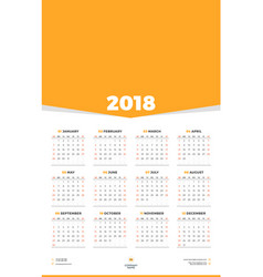 Calendar design template for 2018 year week vector