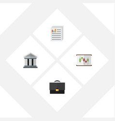 Flat exchequer set of document diagram bank and vector
