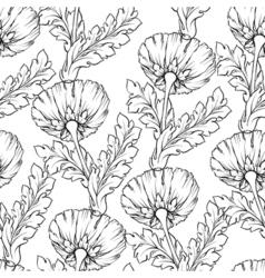 Garden flowers outline isolated on white seamless vector