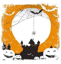 halloween background spider and castle vector image