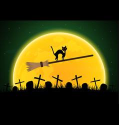 halloween witch broomstick graveyard cat moon vector image vector image