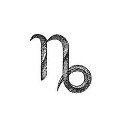hand drawn capricorn zodiac sign vector image