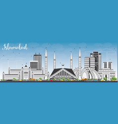 Islamabad skyline with gray buildings and blue sky vector
