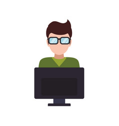 man faceless glasses computer vector image vector image