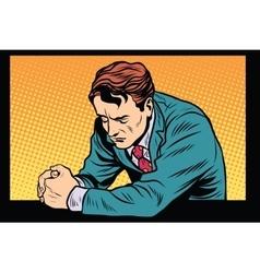 Prayer man praying sad emotions vector