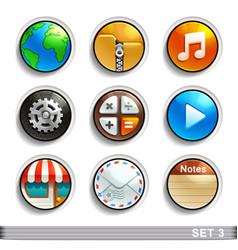 Round button icons-set 3 vector