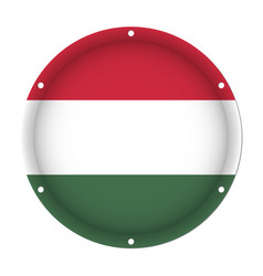 round metallic flag of hungary with screw holes vector image vector image