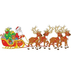 Santa with gifts in his sledge vector image vector image