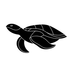 sea turtle icon in black style isolated on white vector image