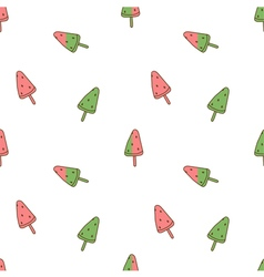 Seamless pattern watermelon ice cream vector image