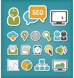 SEO icons set vector image vector image
