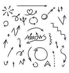 set of arrows hand drawn doodle design element vector image vector image