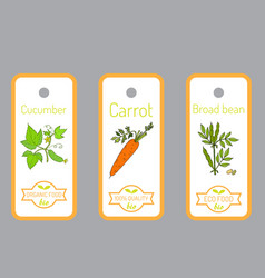 set of labels with hand drawn vegetables vector image vector image