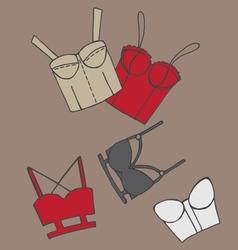 Set of women bra doodle underwear vector